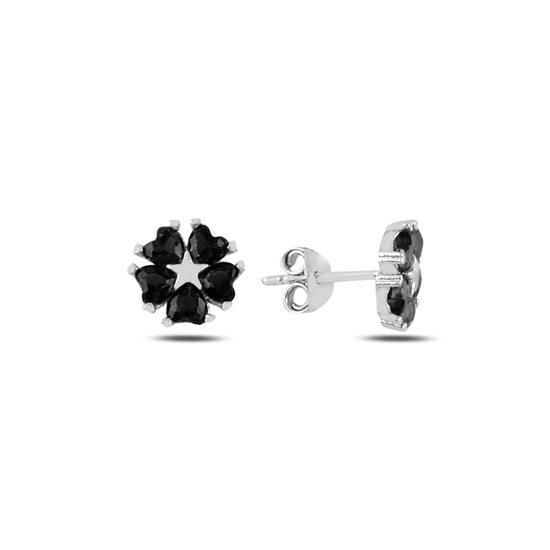 Ürün resmi: Siyah Zirkon Kalp Zirkon Taşlı Çiçek & Yıldız Gümüş Küpe