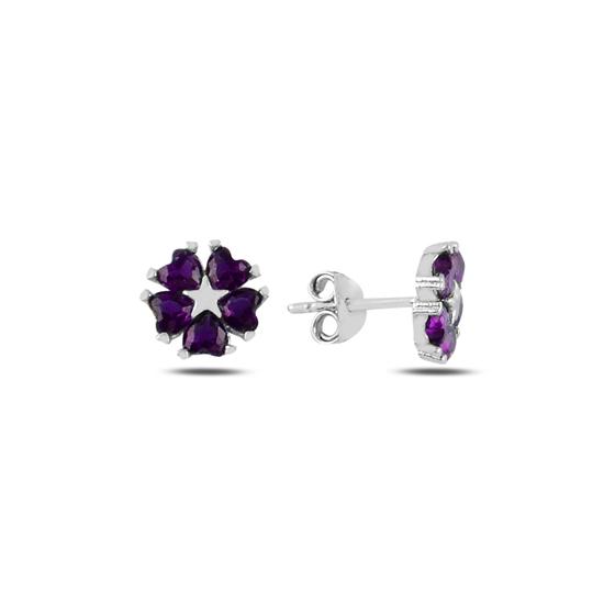 Ürün resmi: Ametist Zirkon (Mor) Kalp Zirkon Taşlı Çiçek & Yıldız Gümüş Küpe