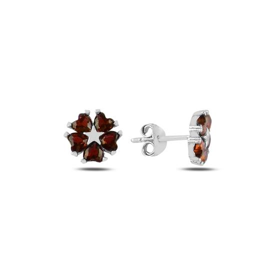 Ürün resmi: Garnet Zirkon (Kırmızı) Kalp Zirkon Taşlı Çiçek & Yıldız Gümüş Küpe