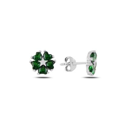 Resim Zümrüt Zirkon (Yeşil) Kalp Zirkon Taşlı Çiçek & Yıldız Gümüş Küpe