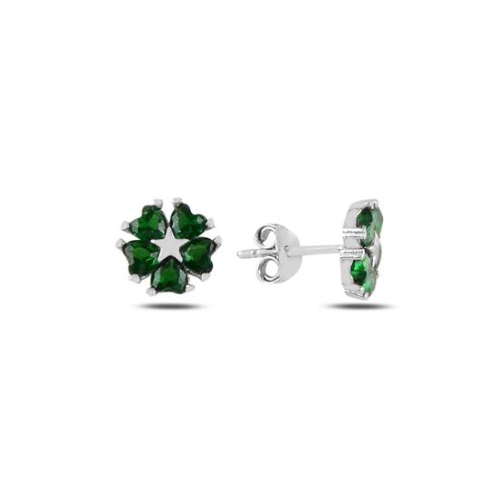 Ürün resmi: Zümrüt Zirkon (Yeşil) Kalp Zirkon Taşlı Çiçek & Yıldız Gümüş Küpe