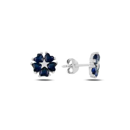 Resim Safir Zirkon (Lacivert) Kalp Zirkon Taşlı Çiçek & Yıldız Gümüş Küpe