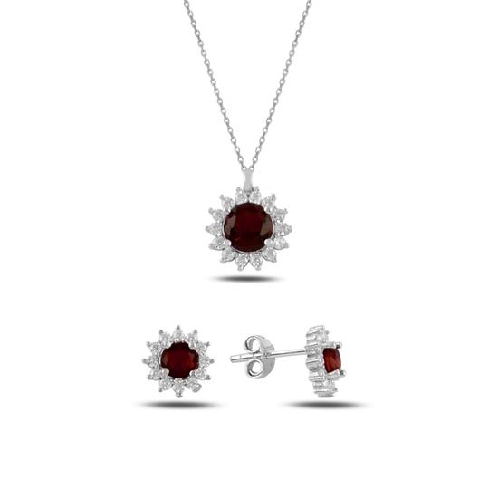 Ürün resmi: Garnet Zirkon (Kırmızı) Halo Tektaş Zirkon Taşlı Gümüş Bayan Set