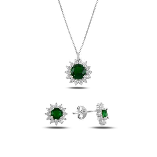 Ürün resmi: Zümrüt Zirkon (Yeşil) Halo Tektaş Zirkon Taşlı Gümüş Bayan Set