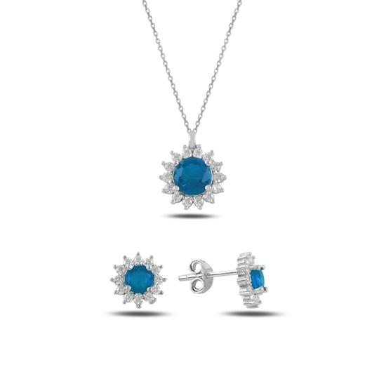 Ürün resmi: Akuamarin Zirkon (Açık Mavi) Halo Tektaş Zirkon Taşlı Gümüş Bayan Set