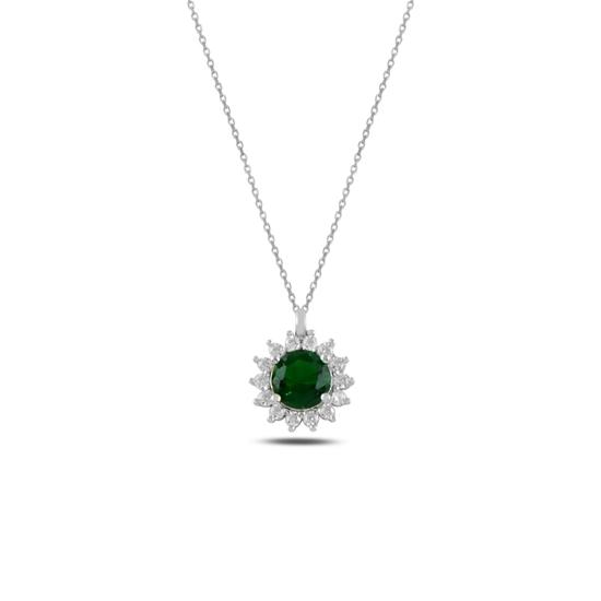 Ürün resmi: Zümrüt Zirkon (Yeşil) Halo Tektaş Zirkon Taşlı Gümüş Bayan Kolye