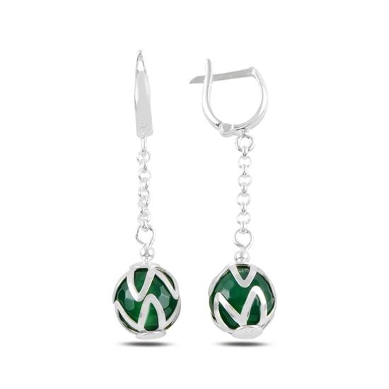 Ürün resmi: Yeşil Akik Doğal Taşlı Sallantılı Gümüş J Küpe