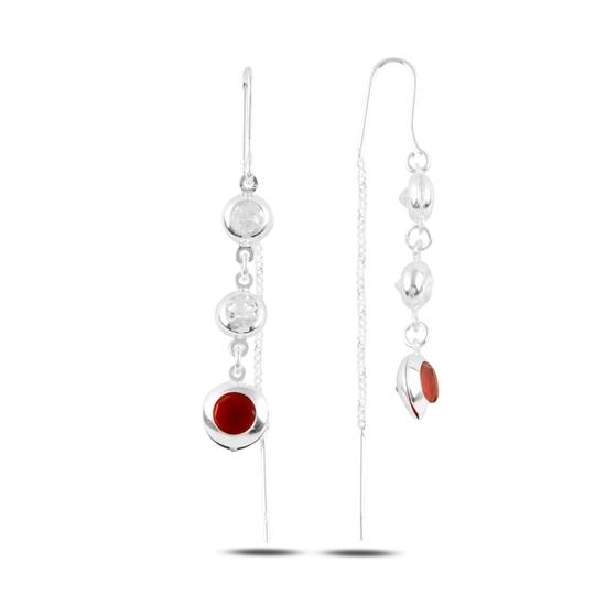 Ürün resmi: Garnet Zirkon (Kırmızı) Zirkon Taşlı Gümüş Sallantılı Küpe