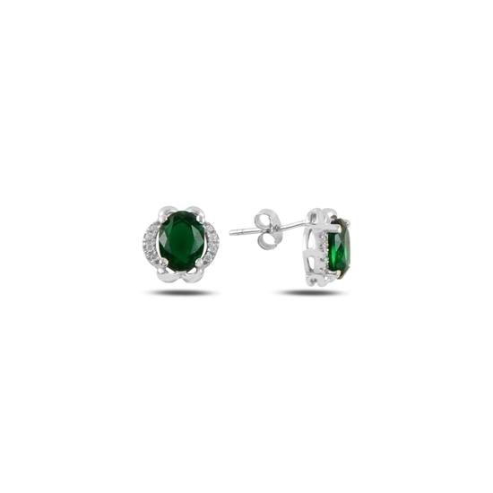 Ürün resmi: Zümrüt Zirkon (Yeşil) Zirkon Taşlı Gümüş Küpe