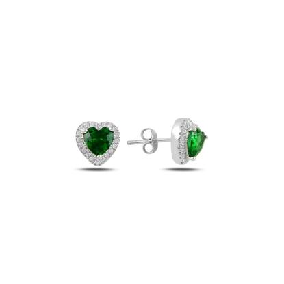 Resim Zümrüt Zirkon (Yeşil) Kalp Zirkon Taşlı Gümüş Küpe
