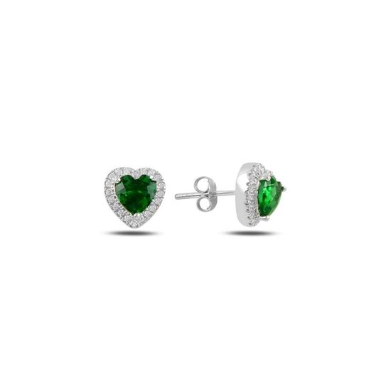 Ürün resmi: Zümrüt Zirkon (Yeşil) Kalp Zirkon Taşlı Gümüş Küpe