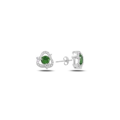 Resim Zümrüt Zirkon (Yeşil) Zirkon Taşlı Gümüş Küpe