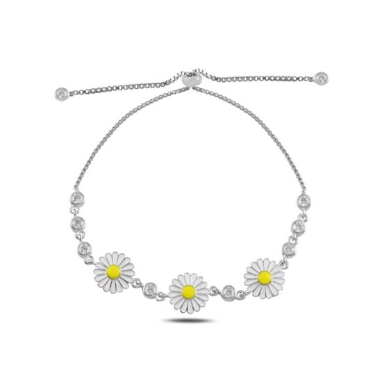 Ürün resmi: Rodyum Kaplama Mineli Papatya & Zirkon Taşlı Suyolu Gümüş Bayan Asansörlü Bileklik