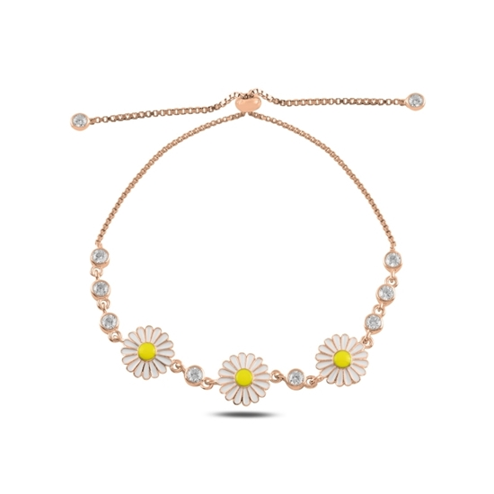 Ürün resmi: Rose Kaplama Mineli Papatya & Zirkon Taşlı Suyolu Gümüş Bayan Asansörlü Bileklik