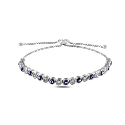Resim Rodyum Kaplama Mineli Göz & Zirkon Taşlı Suyolu Gümüş Bayan Asansörlü Bileklik