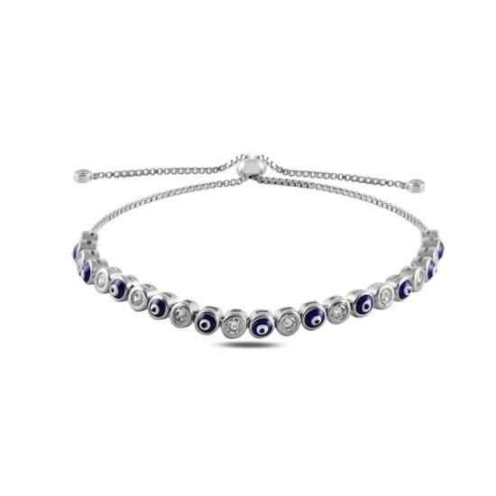 Ürün resmi: Rodyum Kaplama Mineli Göz & Zirkon Taşlı Suyolu Gümüş Bayan Asansörlü Bileklik