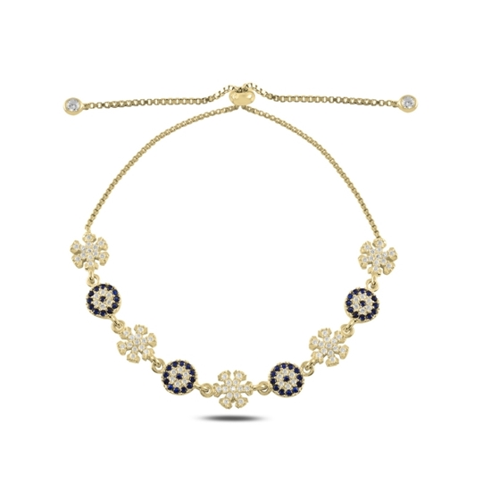 Ürün resmi: Altın Kaplama Göz & Kar Tanesi Zirkon Taşlı Gümüş Bayan Asansörlü Bileklik