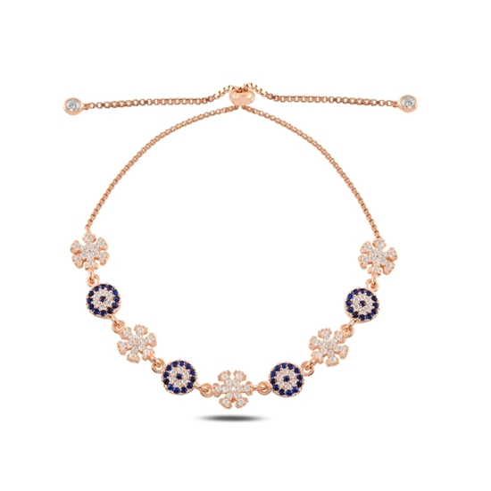 Ürün resmi: Rose Kaplama Göz & Kar Tanesi Zirkon Taşlı Gümüş Bayan Asansörlü Bileklik