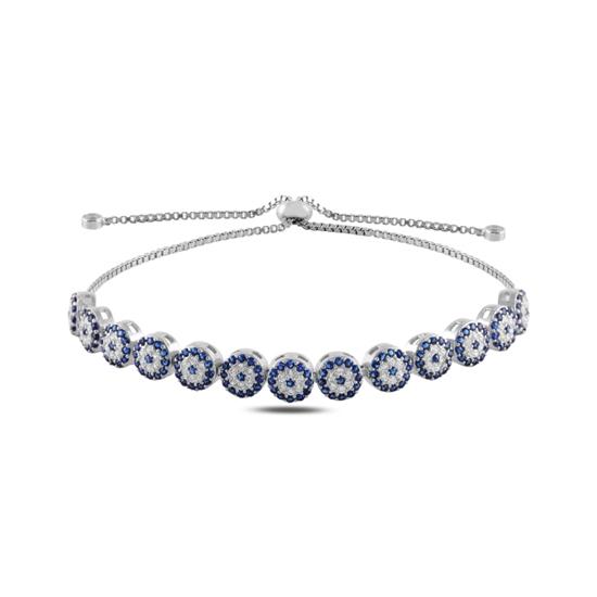 Ürün resmi: Rodyum Kaplama Göz Zirkon Taşlı Suyolu Gümüş Bayan Asansörlü Bileklik