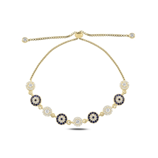 Ürün resmi: Altın Kaplama Göz Zirkon Taşlı Suyolu Gümüş Bayan Asansörlü Bileklik