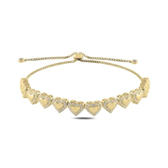Ürün resmi: Altın Kaplama Kalp Zirkon Taşlı Gümüş Bayan Asansörlü Bileklik