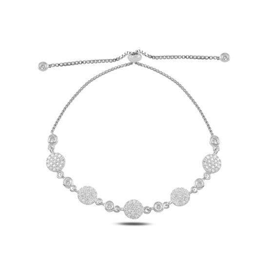 Ürün resmi: Rodyum Kaplama Zirkon Taşlı Gümüş Bayan Asansörlü Bileklik