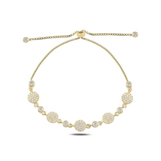 Ürün resmi: Altın Kaplama Zirkon Taşlı Gümüş Bayan Asansörlü Bileklik