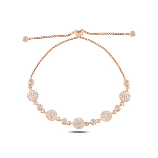 Ürün resmi: Rose Kaplama Zirkon Taşlı Gümüş Bayan Asansörlü Bileklik