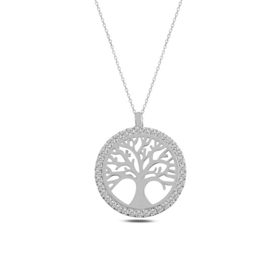 Ürün resmi: Rodyum Kaplama Hayat Ağacı Zirkon Taşlı Gümüş Bayan Kolye