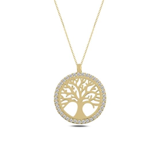 Ürün resmi: Altın Kaplama Hayat Ağacı Zirkon Taşlı Gümüş Bayan Kolye