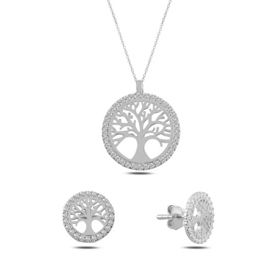Ürün resmi: Rodyum Kaplama Hayat Ağacı Zirkon Taşlı Gümüş Bayan Set