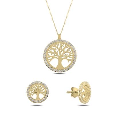 Resim Altın Kaplama Hayat Ağacı Zirkon Taşlı Gümüş Bayan Set