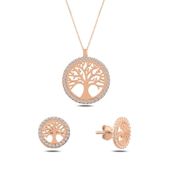 Ürün resmi: Rose Kaplama Hayat Ağacı Zirkon Taşlı Gümüş Bayan Set