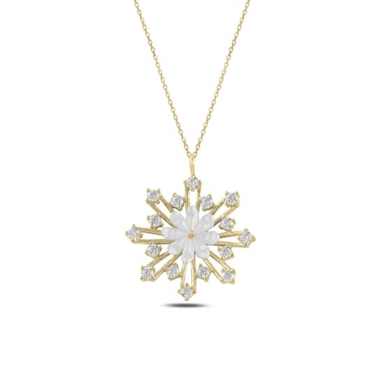 Ürün resmi: Altın Kaplama Çiçek Sedef & Kar Tanesi Zirkon Taşlı Gümüş Bayan Kolye