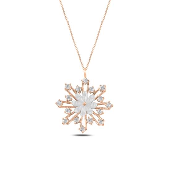 Ürün resmi: Rose Kaplama Çiçek Sedef & Kar Tanesi Zirkon Taşlı Gümüş Bayan Kolye