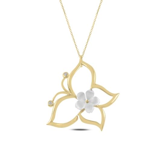 Ürün resmi: Altın Kaplama Çiçek Sedef & Kelebek Zirkon Taşlı Gümüş Bayan Kolye