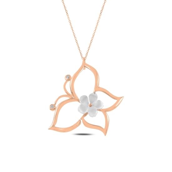 Ürün resmi: Rose Kaplama Çiçek Sedef & Kelebek Zirkon Taşlı Gümüş Bayan Kolye
