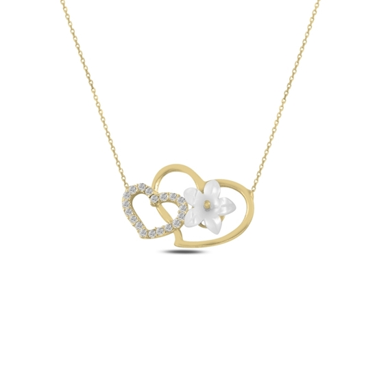 Ürün resmi: Altın Kaplama Çiçek Sedef & Kalp Zirkon Taşlı Gümüş Bayan Kolye