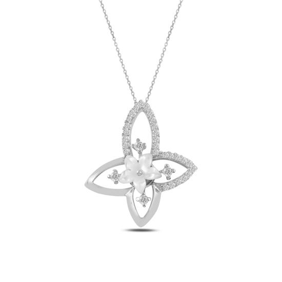 Ürün resmi: Rodyum Kaplama Çiçek Sedef & Zirkon Taşlı Gümüş Bayan Kolye
