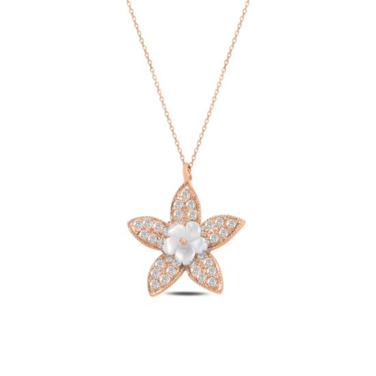 Ürün resmi: Rose Kaplama Çiçek Sedef & Zirkon Taşlı Gümüş Bayan Kolye