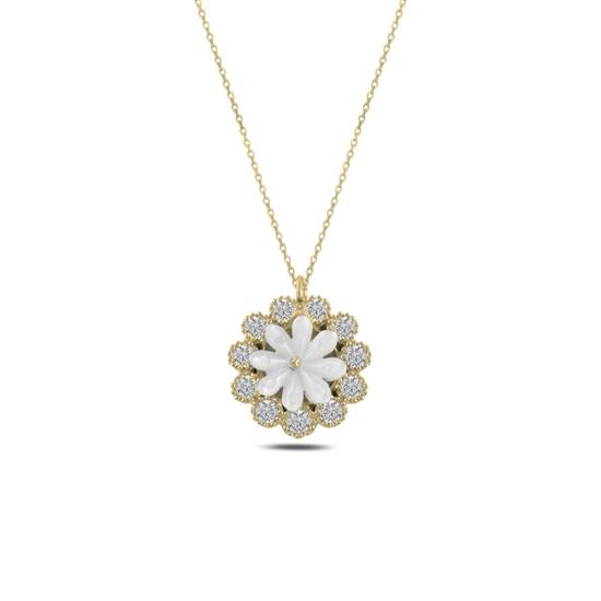 Ürün resmi: Altın Kaplama Çiçek Sedef & Zirkon Taşlı Gümüş Bayan Kolye
