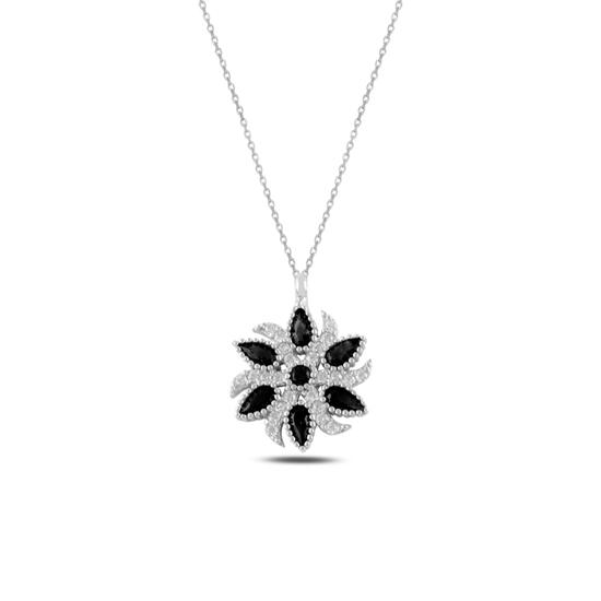Ürün resmi: Siyah Zirkon Zirkon Taşlı Gümüş Bayan Kolye