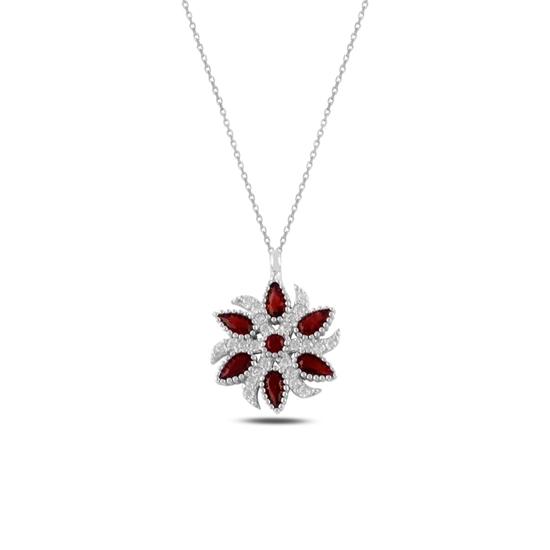 Ürün resmi: Garnet Zirkon (Kırmızı) Zirkon Taşlı Gümüş Bayan Kolye