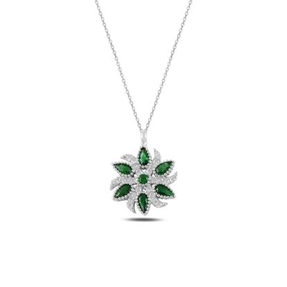 Resim Zümrüt Zirkon (Yeşil) Zirkon Taşlı Gümüş Bayan Kolye