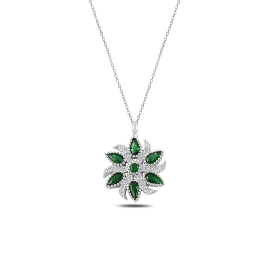 Ürün resmi: Zümrüt Zirkon (Yeşil) Zirkon Taşlı Gümüş Bayan Kolye