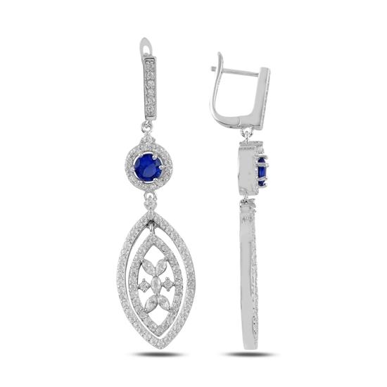 Ürün resmi: Safir Zirkon (Lacivert) Zirkon Taşlı Gümüş Küpe