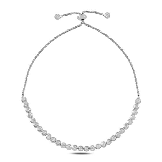 Ürün resmi: Rodyum Kaplama Suyolu Zirkon Taşlı Gümüş Bayan Asansörlü Bileklik
