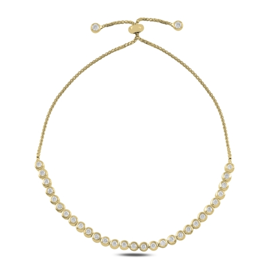 Ürün resmi: Altın Kaplama Suyolu Zirkon Taşlı Gümüş Bayan Asansörlü Bileklik