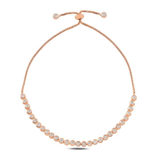 Ürün resmi: Rose Kaplama Suyolu Zirkon Taşlı Gümüş Bayan Asansörlü Bileklik