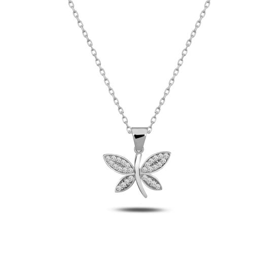 Ürün resmi: Rodyum Kaplama Yusufçuk Zirkon Taşlı Gümüş Bayan Kolye